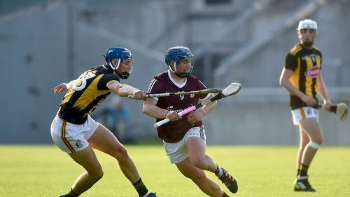 Jason O'Donoghue of Galway in action against Paul Cody of Kilkenny