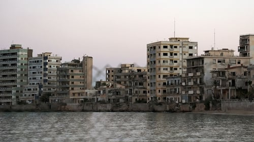 Abandoned buildings and hotels in the fenced-off area of Varosha
