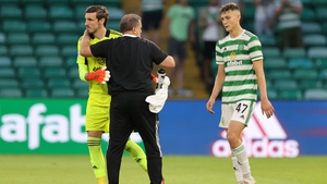 Celtic manager Ange Postecoglou with Vasilis Barkas and Dane Murray after the full-time whistle