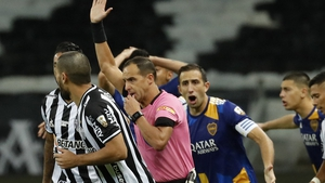 Boca players were not happy with the referee