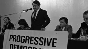 Des O'Malley addressing a Progressive Democrats meeting held in Dublin's Mansion House in 1986