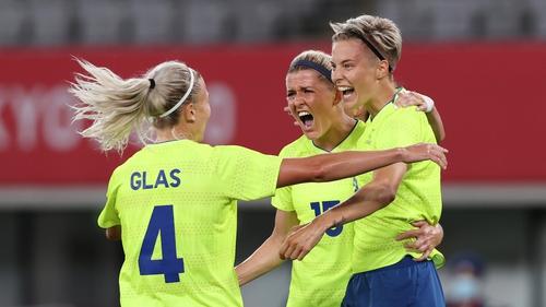 Lina Hurtig celebrates scoring Sweden's third goal
