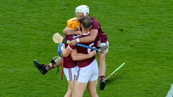A euphoric Tommy Gallagher jumps on Niall Mitchell and Tommy Boyle after the final whistle at Croke Park on Saturday