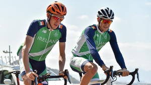 Dan Martin and Nicolas Roche during a training ride at Rio 2016