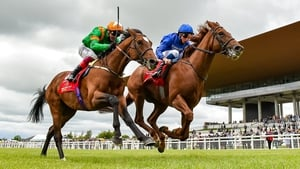 Lone Eagle (near side) was denied by Hurricane Lane in a thrilling finish to the Irish Derby on his most recent start
