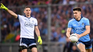 Stephen Cluxton (l) and Davy Byrne in action in the 2019 All-Ireland final replay