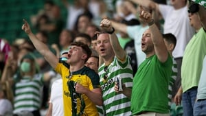 Celtic fans in full voice during the clash with Midtjylland