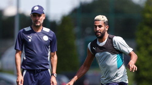 Riyad Mahrez under the watchful eye of Pep Guardiola during a pre-season training session on 20 July