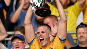 Roscommon captain Colin Walsh lifts the cup