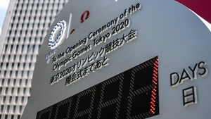 The countdown clock indicating one day until the start of the opening ceremony of Tokyo 2020 Olympic Games