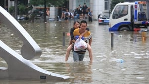 Floodwaters are still high in Zhengzhou underwater in many areas