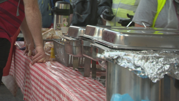 Pop-up soup kitchens in Dublin city centre