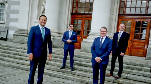 Tánaiste Leo Varadkar, CEO of IDA Ireland Martin Shanahan, director of OLED Material Manufacturing Limited Austin McCabe and PPG plant manager Gerry Cahill met at Government Buildings for today's announcement