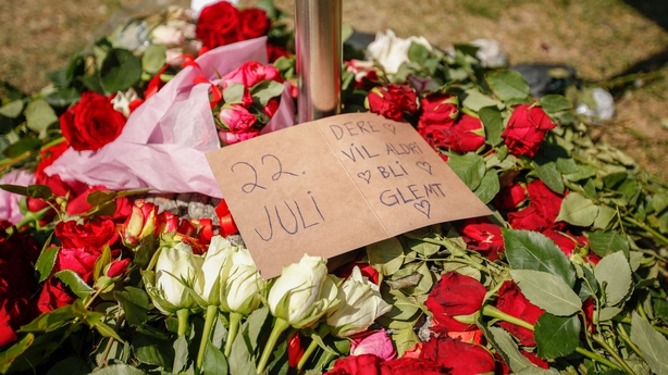 A wreath of roses has been placed outside Oslo's Cathedral following a memorial service marking ten years since the Utoya massacre