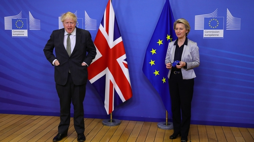 Boris Johnson and Ursula von der Leyen spoke by phone today (file image)