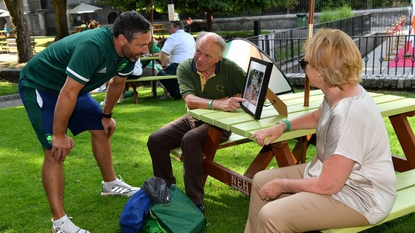 Ray and Liz Shanahan, from Cork city, parents of 800m runner Louise Shanahan, chat to Olympian Kenneth Egan during the Olympic Home Tour at Bishop Lucey Park in Cork (Pics: Diarmuid Greene/Sportsfile)