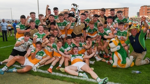 Offaly celebrate their Leinster triumph