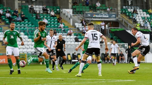 David McMillan scores his side's second goal of the night