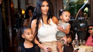 Kim Kardashian with children North, Saint and Chicago