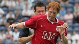 Paul McShane in action for Manchester United in a friendly against Preston North End back in 2006