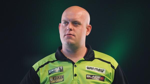 Van Gerwen will meet Peter Wright in the last-four