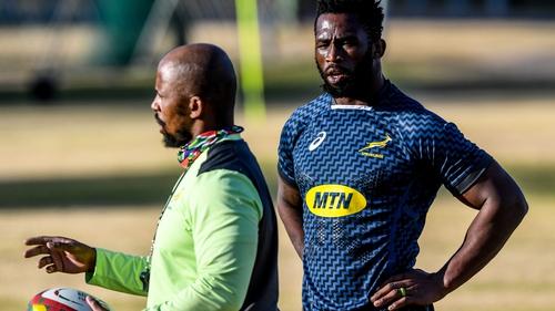 Mzwandile Stick (L) and Springboks captain Siya Kolisi