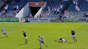 Jack Fagan fires to the back of the Galway net in the first half