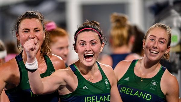 Ireland players, from left, Deirdre Duke, Róisín Upton, Sarah Hawkshaw celebrate