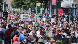 Protesters on O'Connell Street in Dublin today