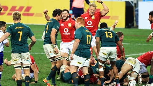 British & Irish Lions players celebrate as Luke Cowan-Dickie goes over for a try