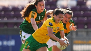 Donegal's Geraldine McLaughlin under pressure from the Kerry defence