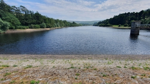 Low levels of water at the Bohernabreena Reservoir in Dublin