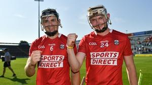 Cork's Mark Coleman, left, and Shane Barrett celebrate victory over Clare