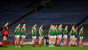 The Mayo team stand for the national anthem ahead ahead of last year's All-Ireland final