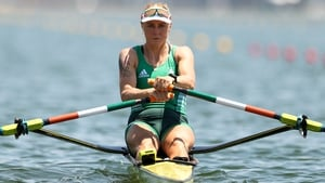 Sanita Puspure competes during the Women's Single Sculls Quarterfinal