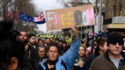 Protesters at the Freedom protest in Melbourne, Australia