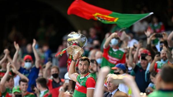 Mayo captain Aidan O'Shea lifts the trophy