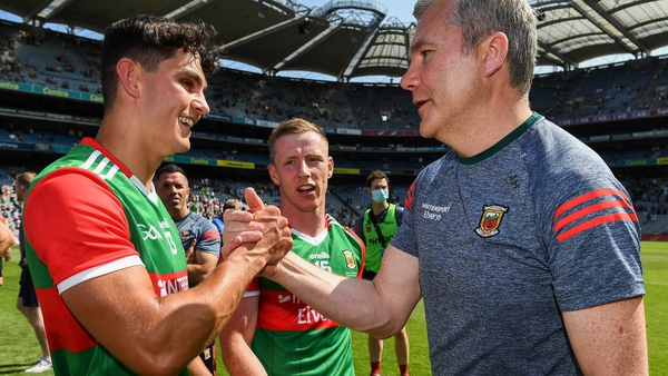 Mayo manager James Horan and Tommy Conroy victory in Croke Park