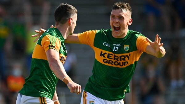 Paul Geaney celebrates his goal with team-mate David Clifford