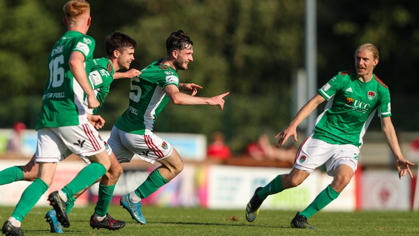 Dale Holland celebrates scoring Cork's third goal