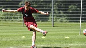 Conor Bradley at pre-season training with Liverpool