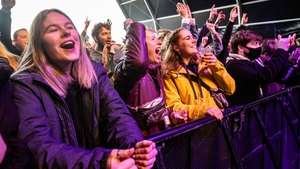 Visitors of a pop festival Back To Live on the event grounds of Walibi Holland