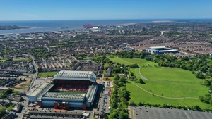 A general external aerial view shows the location of Bramley-Moore Dock (front, right) where Everton's new stadium is to be built, in close proximity to Anfield, front left.