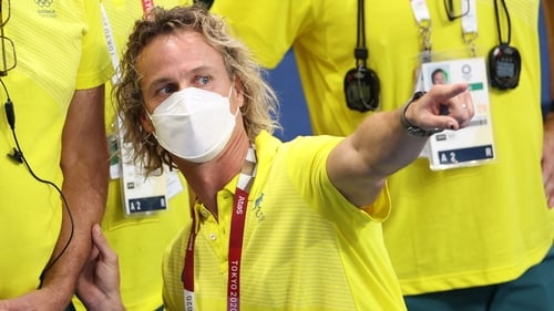Coach Dean Boxall tore off his face covering and threw it across the Tokyo Aquatic Centre's spectator-free stands