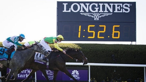 Audarya winning at the 2020 Breeders' Cup