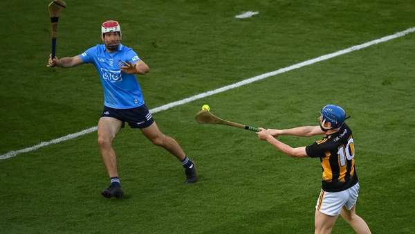 Paddy Smyth tries to block a shot from John Donnelly in the Leinster hurling final loss to Kilkenny