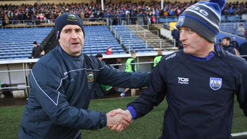 Liam Sheedy (L) and Liam Cahill have won a league game apiece in their two previous meetings as Tipperary and Waterford manager respectively