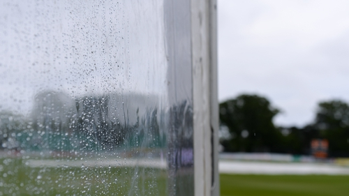 The Malahide Cricket Ground surface was affected by heavy rain