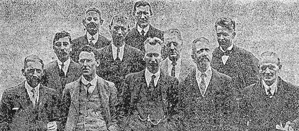 Members of the Dáil who were recently released from Ballykinlar prison camp. Front row (left to right): Joseph McGuinness, Séamus Doyle, Fionán Lynch, William Sears, Sean Milroy. Middle row (left to right): Michael Hayes, Alexander McCabe, Joseph Lynch. Back row (left to right): Patrick Joseph McGoldrick, Dr Richard Hayes, Eamon Dee (extreme right). Photo: Freeman's Journal, 10 August 1921