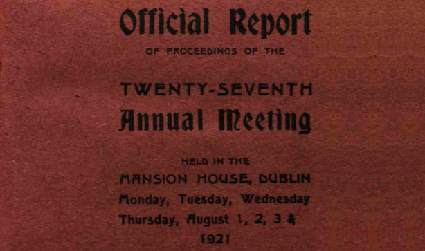 Cover of the report on the 27th Annual Meeting of the Irish Labour Party and Trade Union Congress Photo: National Archives of Ireland